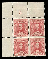 Lot 2611:1930 Sturt BW #139zb 1½d corner block of 4 with Plate No 3.