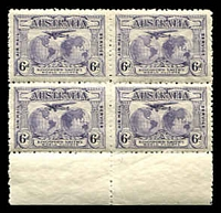 Lot 3127:1931-38 Kingsford Smith Airmail BW #143 6d dull violet marginal block of 4.