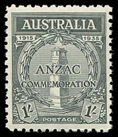 Lot 379:1935 Anzac BW #165 1/- black.