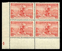 Lot 738:1936 Cable BW #169zp 2d scarlet plate 4 lower left block of 4 with variety Retouched weak entry to top right corner.