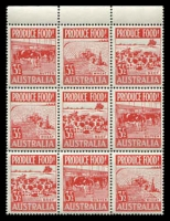 Lot 332:1953 Produce Food BW #292ca 3½d red block of 9.