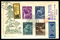 Lot 17707 [1 of 2]:1959 International Hunting Congress set tied to Registered illustrated FDC by Vienna special cancel 20 5 1959.