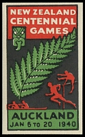 Lot 12:New Zealand: 1940 Multicoloured Imperf label for New Zealand Centennial Games Auckland, very fine.