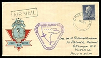 Lot 18334:1955 Cocos Island - Australia Australia Post Hermes cover with QEII adhesive tied by fine Cocos Island cds 23NO55 with Inauguration of Domestic Postal Services cachet in violet at left.