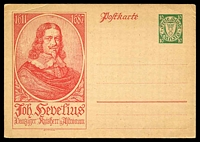 Lot 3502:1934 10pf HG #45 with picture of Hevelius in red at left, minor crease at top left.