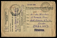 Lot 3763:1918 usage of Prisioner of War envelope printed for Darmstadt Camp and used to England with Darmstadt cancel 4 11 18 at upper right.