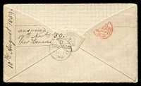 "Lot 4079 [2 of 2]:1859 cover to ""North Melbourne, Australia"" with 6d pale lilac (SG #70) with numeral cancel and backstamped Taunton AU 10 59, part back flap missing."