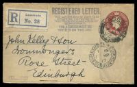 Lot 4147:1914 KGV 3d Red-Brown on Buff HG #C37 Registered Lasswade to Edinburgh in 1917.