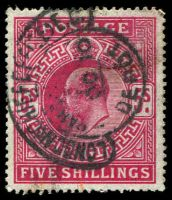 Lot 3558:1902 -10 KEVII DLR Printing SG #264 5/- deep bright carmine, Cat £200.