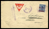 Lot 20186 [1 of 2]:1927 Tegucigalpa - San Pedro cover with adhesive cancelled by Tegucigalpa MAR 9 1927 machine cancel with red Triangle Air Mail label and backstamped with Central American Airlines cachet and signed.