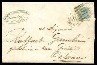 Lot 3840 [1 of 2]:1867 Entire from Milan to Cesena with 20c tied by fine 181 numeral cancel and backstamped Cesena 5OTT67.