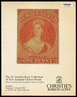 Lot 28:New Zealand: 'The H Gordon Kaye Collection of New Zealand Chalon Heads' Christies Robson Lowe catalogue 16th April 1991 with prices realised.