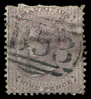 Lot 3930:1860-63 No Wmk SG #51 9d dull purple, top perfs rough.
