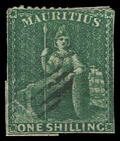 Lot 4141:1862 Intermediate Perf 14 to 16 SG #55 1/- deep green, perf at top but trimmed at sides.