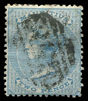 Lot 4399:1863-72 Wmk Crown CC SG #59 2d pale blue.