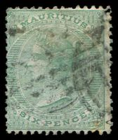 Lot 3932:1863-72 Wmk Crown/CC SG #64 6d yellow-green.