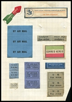 Lot 1:Selection of Airmail Labels small group on album 
