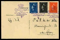 Lot 3965 [1 of 2]:1938 Gravenhage Anniversary PPC with Queen Wilhelmina set of 3 tied by special Gravenhage cancel 5 Sept 1938.