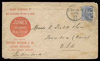 Lot 970 [1 of 2]:1893 Advertising cover for Jones' Sewing Machine used to USA per Mauposa, few faults but attractive advertising cover.