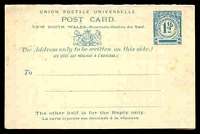 Lot 1082:1892 1½d + 1½d Blue on Cream Stock HG #14 reply card.