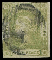 Lot 1173:1852 Imperf Laureates No Wmk Medium Greyish Blue Wove Paper SG #67 3d dull yellow-green 4 clear margins.