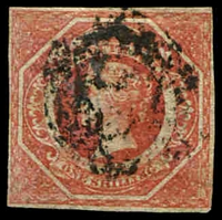 Lot 898:1854-59 Imperf Large Diadems Wmk Double-Lined Numeral SG #99 1/- rosy vermilion 4-margins.