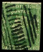 Lot 888:1856-60 Imperf Small Diadems Recess Wmk Double-Lined Numeral SG #117 3d dull green, two margins close to large.