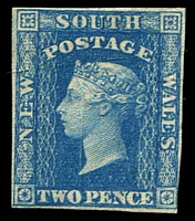 Lot 899:1856-60 Imperf Small Diadems Recess Wmk Double-Lined Numeral SG #112 2d blue, 3½ clear margins mint small part gum.