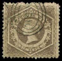 Lot 5548:1860-72 Diadems Wmk Double-Lined Numeral Perf 12 SG #143 6d grey-brown.
