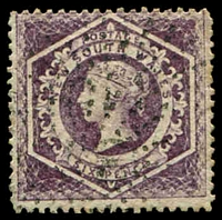 Lot 5554:1860-72 Diadems Wmk Double-Lined Numeral Perf 13 SG #165b 6d purple with error wmk 12.
