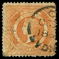 Lot 1180:1860-72 Diadems Wmk Double-Lined Numeral Perf 13 SG #167a 8d red-orange