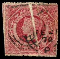 Lot 1181:1860-72 Diadems Wmk Double-Lined Numeral Perf 13 SG #168 1/- rose carmine with large pre-printing paper fold.