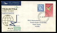 Lot 23879 [1 of 2]:1960 Auckland - Nandi illustrated Teal cover backstamped Nandi Airport Fiji.
