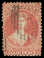 Lot 4439:1864-7 Wmk Large Star Perf 12½ SG #119 4d deep rose, Cat £250.
