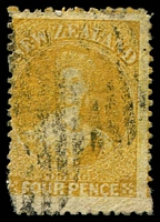 Lot 3962:1864-7 Wmk Large Star Perf 12½ SG #120 4d yellow.