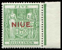 Lot 4208:1941-67 Postal Fiscals Wiggins Teape Paper Wmk NZ/Star SG #80 5/- green marginal example, Cat £350.