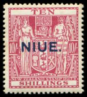 Lot 4485:1941-67 Postal Fiscals Wiggins Teape Paper Wmk NZ/Star SG #81 10/- pale carmine lake, some tones.