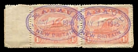 Lot 4229:Rabaul 1d rose pink marginal pair cancelled with two very fine strikes of oval RABAUL NEW BRITAIN cancel MAY 17 1915 in violet.