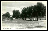 Lot 17609:Yarrawonga: - black & white real photo PPC 'Gardens near swimming pool, Yarrawonga, Vic', unused.  PO 28/11/1874.