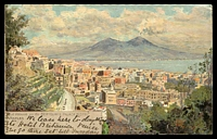 Lot 608 [1 of 2]:Italy: Multicoloured PPC 'The view from Bertolini's Palace Hotel Naples' used from Naples in 1902.