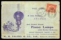 Lot 7543:1907 Illustrated Post Card for W H Paling Best Nickel Plated Piano Lamps with 1d QV tied by Brisbane cancel MR 9 07 some foxing but nice early advertising card.
