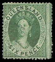 Lot 1631:1860-61 Small Chalon Wmk Small Star Clean-Cut Perf 14-16 SG #9 6d green.