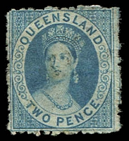 Lot 7493:1860-61 Small Chalon Wmk Small Star Rough Perf 14-16 SG #15 2d blue.