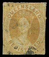 Lot 1503:1860-61 Small Chalon Wmk Small Star Rough Perf 14-16 SG #20 (6d) Registered orange-yellow.
