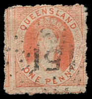 Lot 1495:1862-67 Small Chalon Thick Toned Paper, No Wmk Rough Perf 13 SG #22 1d orange-vermilion