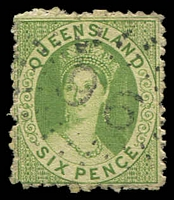 Lot 1632:1862-67 Small Chalon Thick Toned Paper, No Wmk Rough Perf 13 SG #26 6d apple-green.