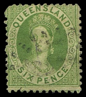 Lot 1633:1868-78 Small Chalon Wmk 1st Crown/Q Perf 12 SG #106 6d yellow-green.
