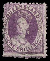 Lot 1297:1868-78 Small Chalon Wmk 1st Crown/Q Perf 12 SG #109 1/- purple.