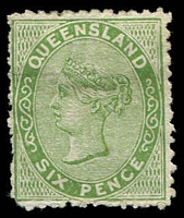 Lot 1498:1879-80 Sideface Wmk 2nd Crown/Q SG #143 6d yellow-green, mint no gum.