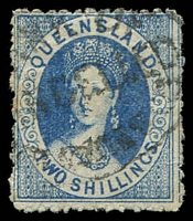 Lot 1391:1880 Small Chalon Litho Wmk 2nd Crown/Q Perf 12 SG #119 2/- blue.